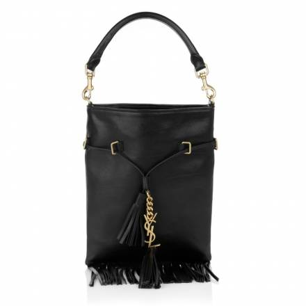 Saint Laurent Saint Laurent Ysl Monogramme Fringed Bucket Bag Black Handtaschen