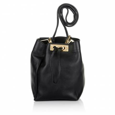 Sophie Hulme Sophie Hulme Small Drawstring Geometric Pouch Calfskin Black Handtaschen