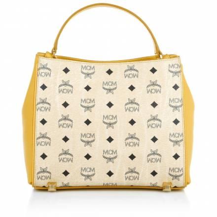 Mcm Mcm Corina Visetos Shoulder Bag Small Beige/yellow Handtaschen