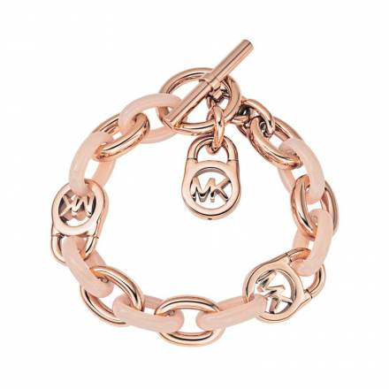 Michael Kors Michael Kors Rose Gold And Blush-tone Chain-link Padlock Bracelet Schmuck