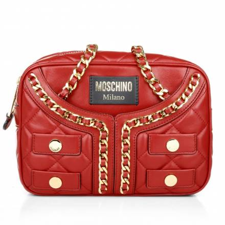 Moschino Moschino Quilted Jacket Leather Bag Red  Handtaschen