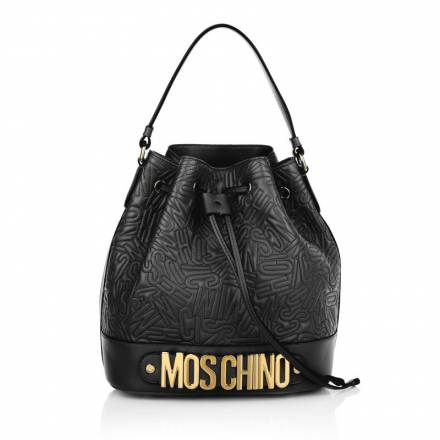 Moschino Moschino Medium Logo Stitching Bucket Bag Black Handtaschen