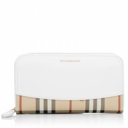 Burberry Burberry Large Zip Around Wallet White Accessoires