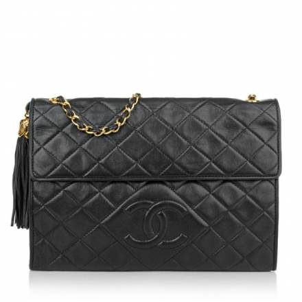 Chanel Vintage Chanel Vintage Quilted Flap Over Bag Black Handtaschen