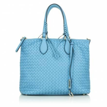 Abro Abro Woven Handbag Leather Pluma Sky Handtaschen