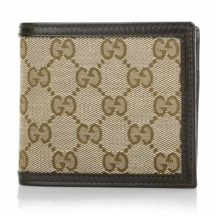 Gucci Gucci Mini Fold Wallet Gucci Canvas Dark Brown Accessoires