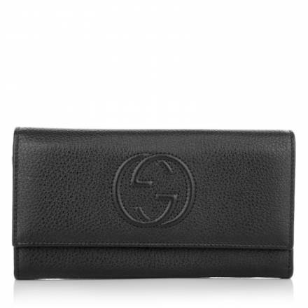 Gucci Gucci Soho Flap Over Wallet Nero Accessoires