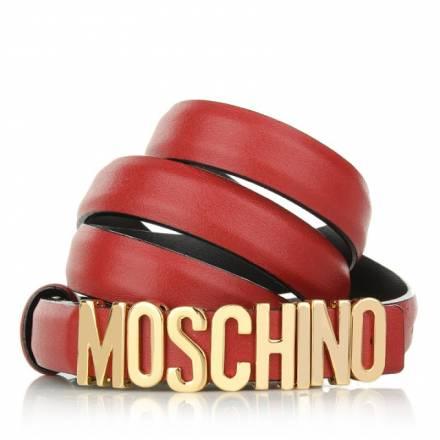 Moschino Moschino Small Logo Leather Belt Red/gold Size 42 Accessoires