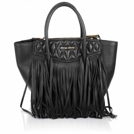 Miu Miu Miu Miu Biker Bag Fringes Black Handtaschen