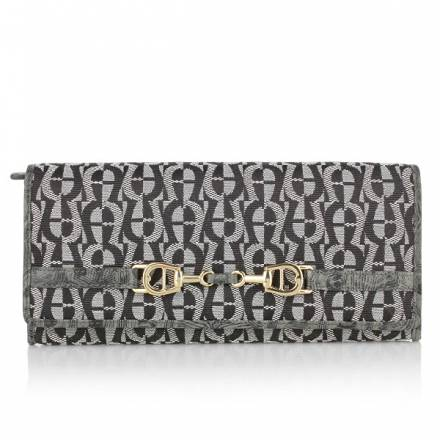Aigner Wallet Material Flap Over Salt+pepper