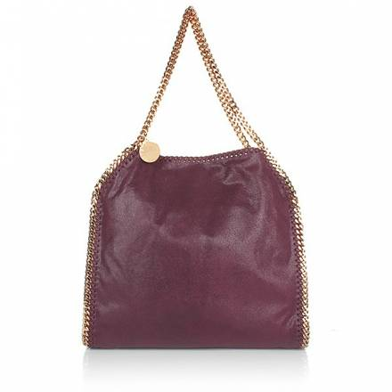 Stella Mccartney Falabella Shaggy Deer Small Tote Plum/gold