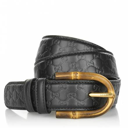 Gucci Gucci Bamboo Buckle Leather Belt Black 75 Cm Accessoires