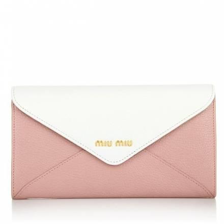 Miu Miu Miu Miu Wallet Madras Bicolore Rosa Bianco Accessoires