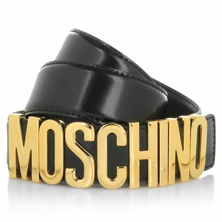 Moschino Logo Belt Gold Black Size 44