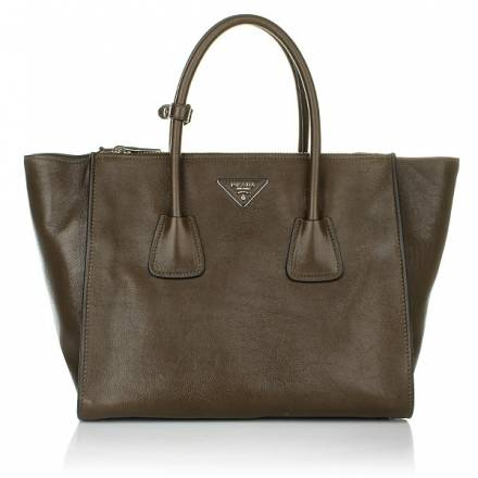 Prada Shopping Bag Glacé Calf Bruciato