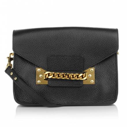 Sophie Hulme Chain Long Envelope Bag Black